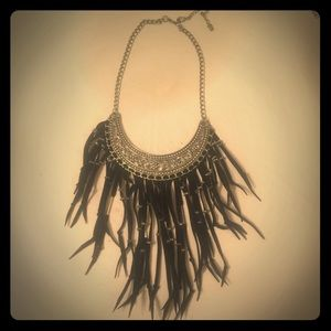 Silver tone and black fringe necklace